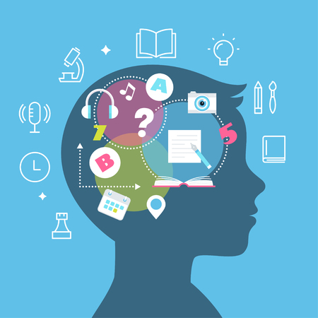 Education, Learning Styles, Memory and Learning Difficulties Concept Vector Illustration. Çizim