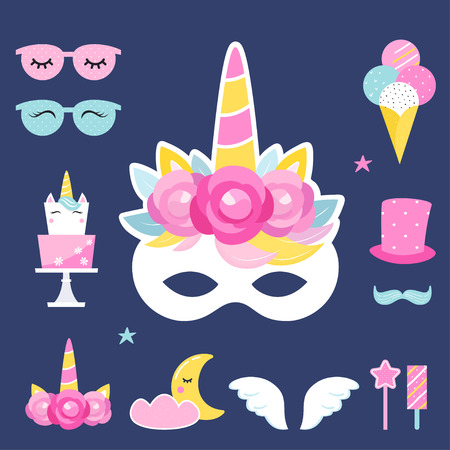 Unicorn Birthday or Slumber Party Photo Props and Decorations. Vector Design