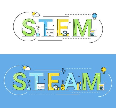 Illustrazione di vettore di concetto di approcci di educazione di vapore e vapore.