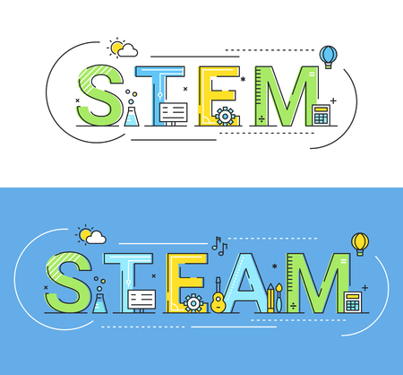 Steam and Steam Education Approaches Concept Vector Illustration. Çizim
