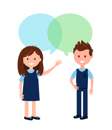 Boy and Girl Wearing School Uniform and Speech Bubbles Vector Illustration. Ilustração
