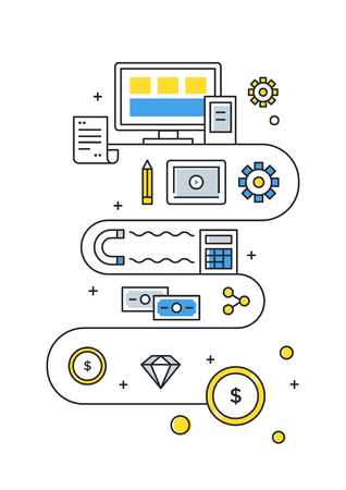 Digital Online Content Monetization Strategy Vector Illustration.