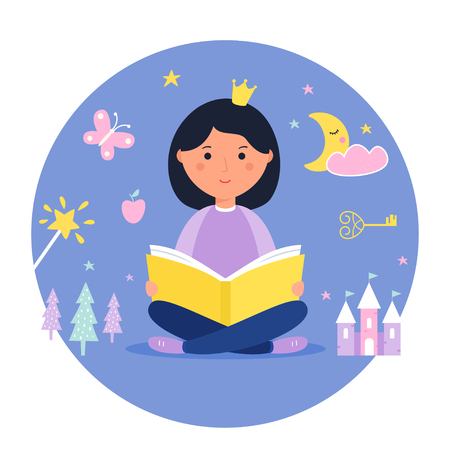 Girl Reading a Book. Fantasy and Fairy Tale Concept. Vector Design