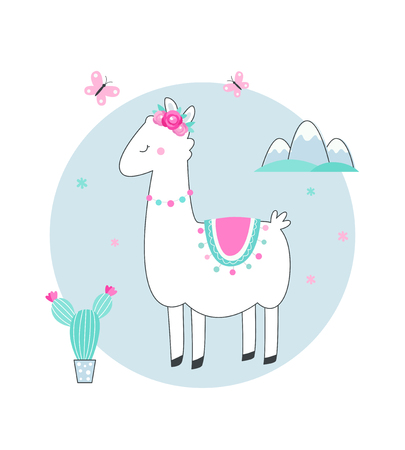 White Llama or Alpaca with Cacti, Flowers and Mountains Vector Illustration.