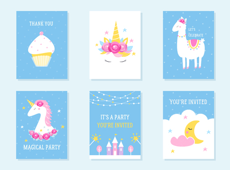 Kids Slumber and Birthday Party Invites. Unicorn, Llama and Cupcake Themes. Vector Design.