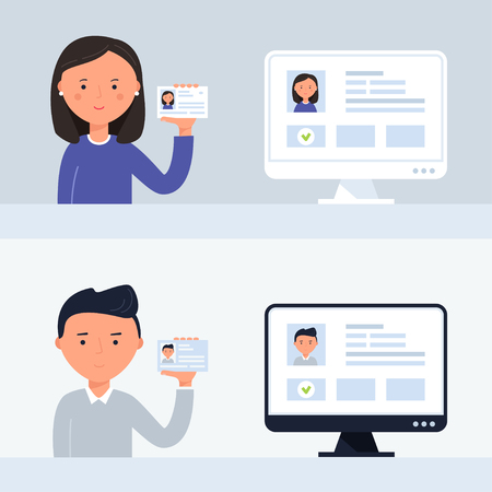 Account Verification Illustration. People Holding ID Cards. Vector Illustration.