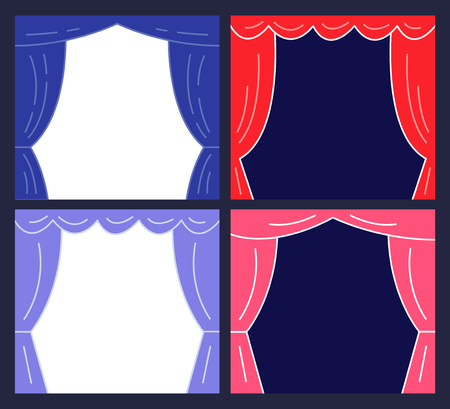 Stages with Curtains. Presentation or Announcement Design. Vector Illustration. Stock Illustratie