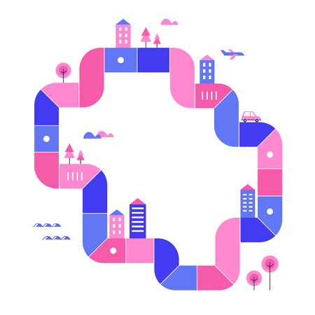 Smart City Development Map. Vector Illustration