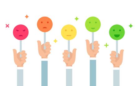 Illustration des commentaires des clients. Tenir des signes d'humeur Emoji. Échelle de vote. Conception de vecteur plat.