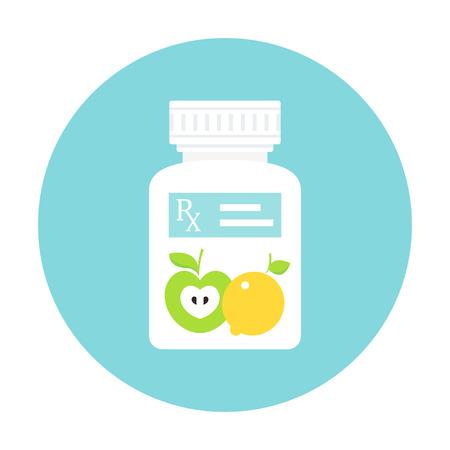 Medicine Pills Bottle with RX Prescription Sticker and Fruit. Food as Medicine Vector Illustration.
