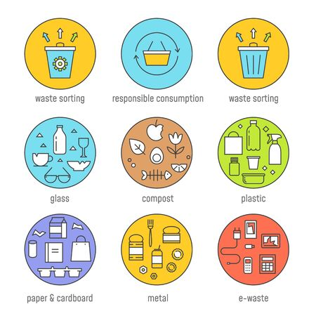 Waste Sorting and Responsible Consumption  Graphics Set.