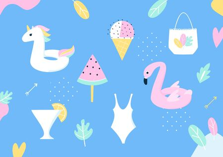 Summer Pool or Beach Party Vector Design Elements Ilustracja