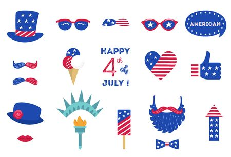USA Independence Day 4 th of July Photo Booth Party Props of American Symbols Illusztráció