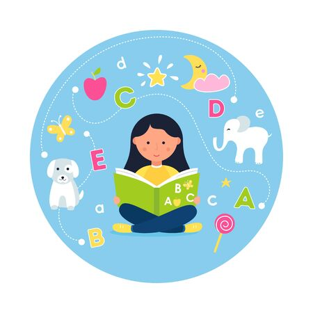 Girl Reading ABC Book. Concept of Teaching Reading through Phonics Stock Illustratie