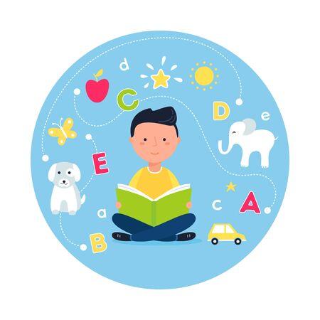 Boy Reading Book. Concept of Teaching Reading through Phonics