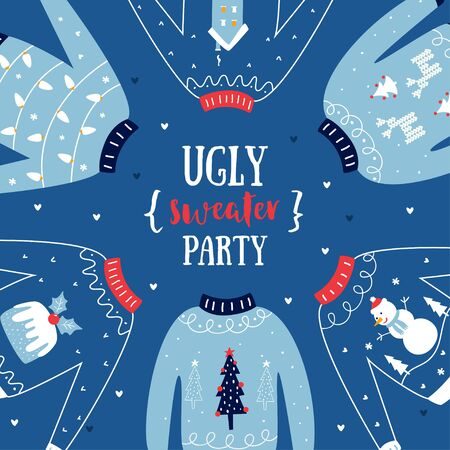 Ugly Sweater Christmas or New Year Party Invitation Vector Card Ilustracja