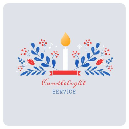 Candle and Ornaments Christmas Eve Candlelight Service Invitation. Scandinavian Style Vector Design