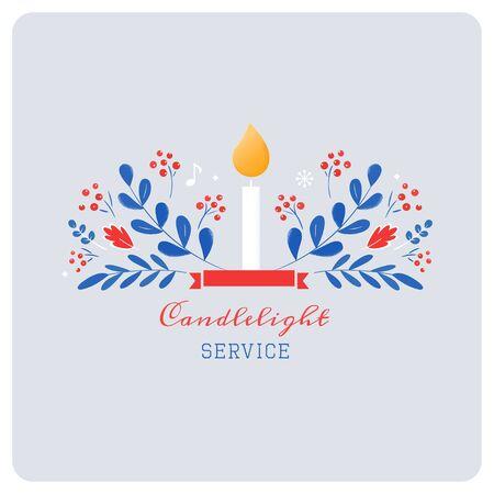Kerze und Verzierungen Weihnachtsabend-Kerzenlicht-Service-Einladung. Vektor-Design im skandinavischen Stil