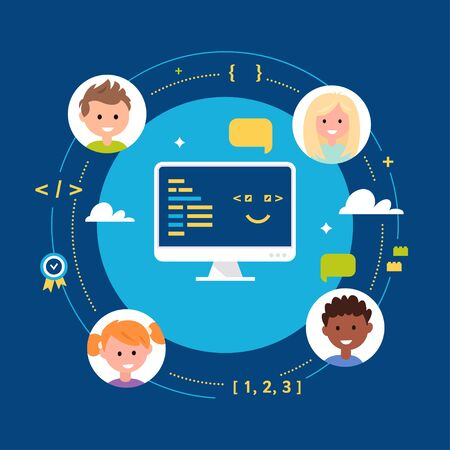 Young Children Learning Coding. School Class or Club. Vector Illustration. Ilustracja
