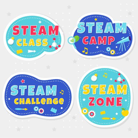 Steam Class, Camp and Zone Colorful Stickers or Banners for Kids Playrooms and School Spaces. Vector Illustration Ilustracja