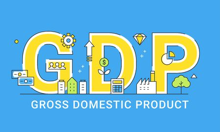Gross Domestic Product. Illustrated Sign.