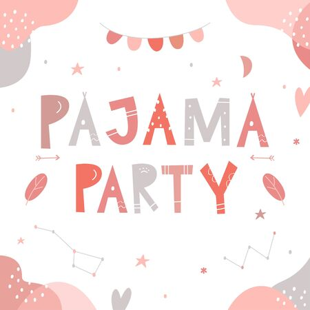 Pajama or Slumber Party for Girls Invitation Card. Letters Sign. Ilustracja