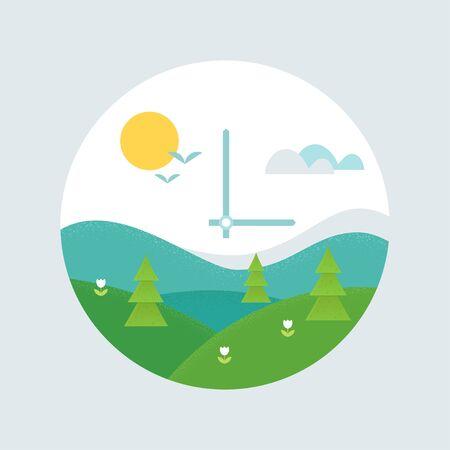 Spring Forward Clock Face. Daylight Saving Time Shift and Spring Landscape Vector Illustration.