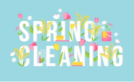 Spring Cleaning Floral Lettering Sign. Seasonal Cleaning Banner
