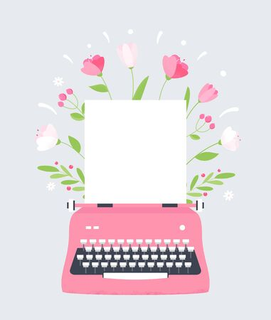 Flowers Styles Typewriter with Blank Sheet of Paper Ilustracja