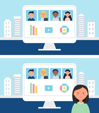 Online School or Office Team Business Meeting, Conference or Class.
