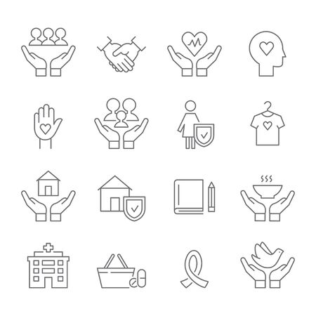 Social Work and Care, Family and Woman Protection, Charity and Donation. Flat Line Vector Icons