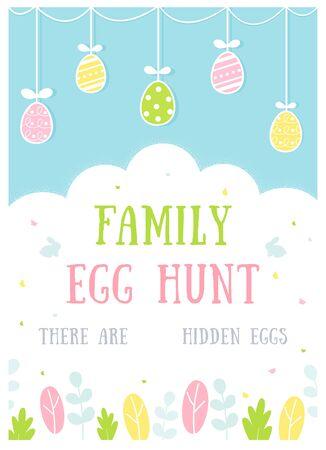 Easter Egg Hunt Activity Poster or Invitation Card. Vector Design. Ilustracja