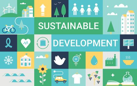 Sustainable Development Goals and Living Implementation. Concept Vector Illustration