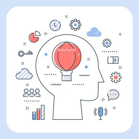 Growth Mindset Development and Learning Concept Illustration. Vector Line Flat Design.
