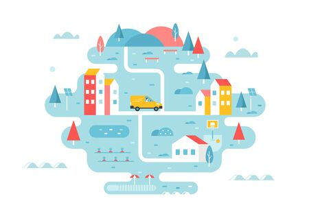 Delivery Service. Rural Area or Town Illustrated Map with Roads and Buildings. Tourism and Development Concept. Vector Flat Design.