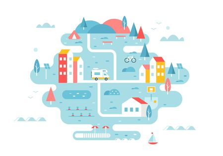 Town on a Coast Illustrated Map. Sustainable Tourism Development and Travel Concept Illustration