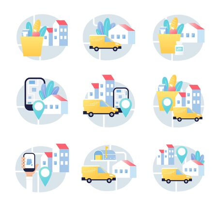 Delivery Service App, Truck, Postal and Logistics Management in City or Town. Vector Design. Ilustracja