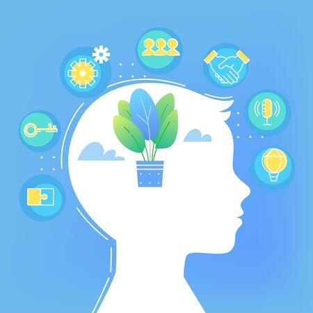 Children Brain Development. Soft Skills and Growth Mindset Concept Vector Illustration