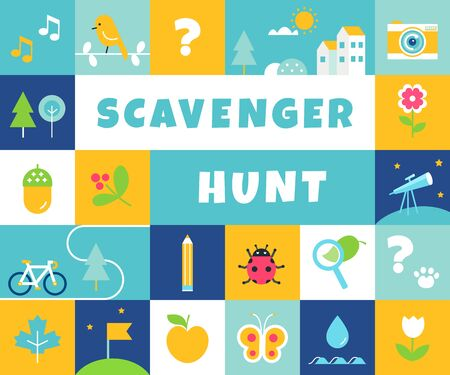 Nature Scavenger Hunt. Summer Camp and Community Activity and Game for Children Иллюстрация