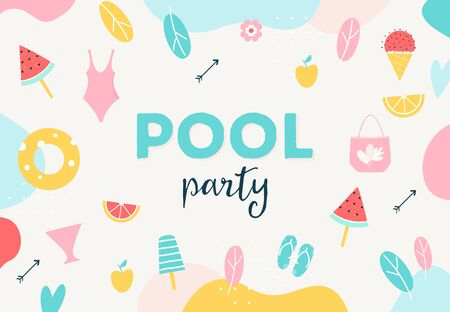 Summer Pool or Beach Party Poster, Flyer or Invitation Card.  イラスト・ベクター素材