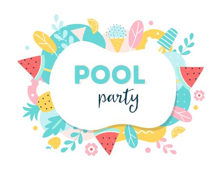 Summer Pool or Beach Party Poster, Flyer or Invitation Card. Ilustracja