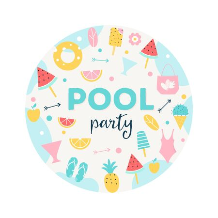 Summer Pool or Beach Party Round Sign.