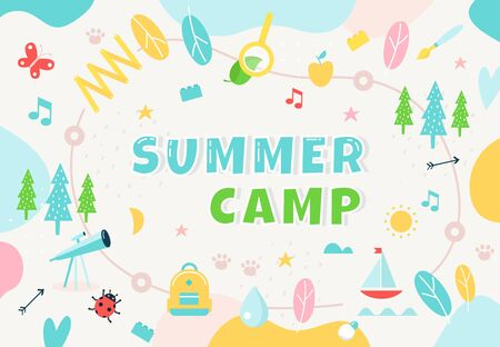 Summer Camp, Community Center Club or Outdoor School. Colorful Banner for Kids Programs. Educational Activities and Spaces. Vector Illustration