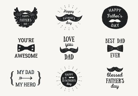 Happy Fathers Day Banners or Badges. Ilustracja