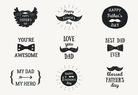 Happy Fathers Day Banners or Badges. Ilustração