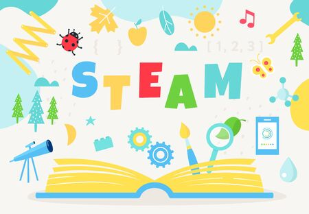 Livre ouvert et signe STEAM. Approche de l'enseignement des sciences, de la technologie, de l'ingénierie, de l'art et des mathématiques. Conception de vecteur.