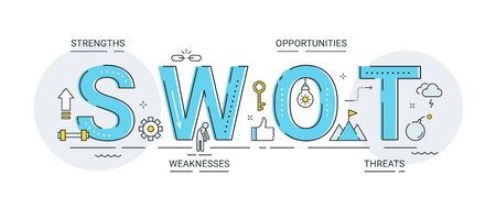SWOT Analysis Letters Sign and Icons Vector Illustration. Strategic Planning Technique