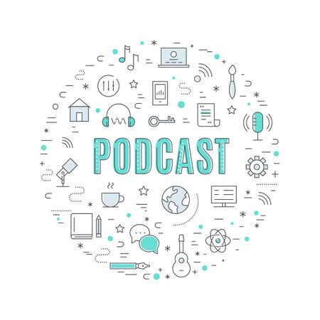 Podcast Sign Circle Sign. Web, Education and Technology Icons Vector Illustration Ilustração