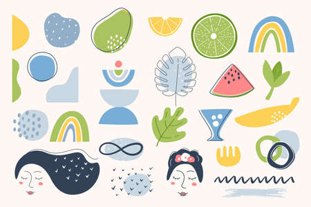 Fruit, Flora and Abstract Shapes Summer Elements. Vector Design.