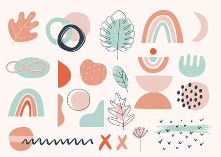 Floral and Abstract Earthy Terracotta Shapes and Elements. Modern Vector Design.